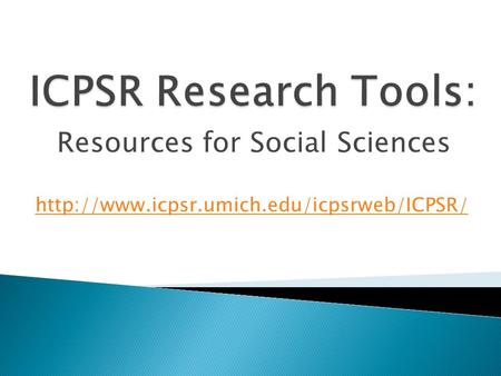Resources for Social Sciences
