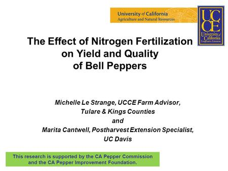The Effect of Nitrogen Fertilization on Yield and Quality of Bell Peppers Michelle Le Strange, UCCE Farm Advisor, Tulare & Kings Counties and Marita Cantwell,