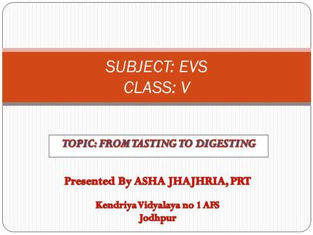 SUBJECT: EVS CLASS: V. Digesting Diagrame 2 Tongue.