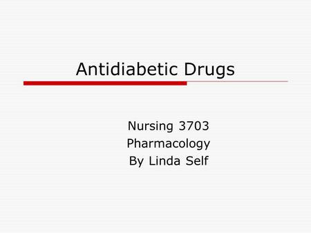 Nursing 3703 Pharmacology By Linda Self