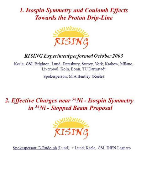 1. Isospin Symmetry and Coulomb Effects Towards the Proton Drip-Line RISING Experiment performed October 2003 Keele, GSI, Brighton, Lund, Daresbury, Surrey,