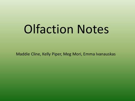 Olfaction Notes Maddie Cline, Kelly Piper, Meg Mori, Emma Ivanauskas.