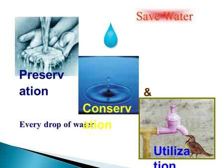 Every drop of water Save Water Preserv ation Conserv ation Utiliza tion &