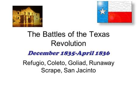The Battles of the Texas Revolution December 1835-April 1836