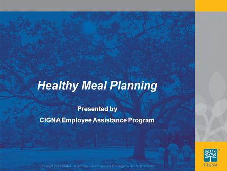 1 Healthy Meal Planning Presented by CIGNA Employee Assistance Program Copyright 2008 CIGNA HealthCare – Confidential & Privileged – Not for Distribution.