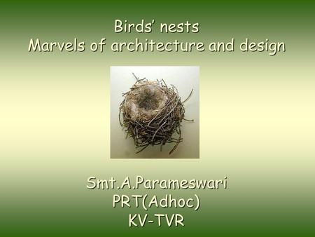 Birds' nests Marvels of architecture and design Smt.A.ParameswariPRT(Adhoc)KV-TVR.
