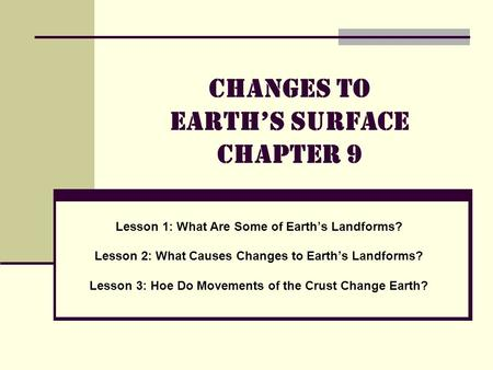 Changes to Earth's Surface Chapter 9 Lesson 1: What Are Some of Earth's Landforms? Lesson 2: What Causes Changes to Earth's Landforms? Lesson 3: Hoe Do.