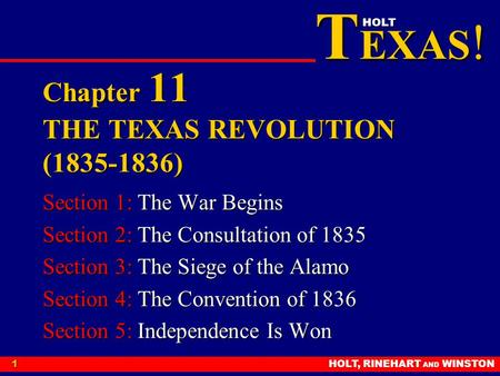 Chapter 11 THE TEXAS REVOLUTION ( )