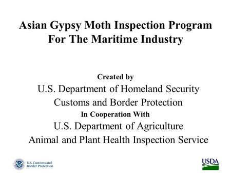 Asian Gypsy Moth Inspection Program For The Maritime Industry Created by U.S. Department of Homeland Security Customs and Border Protection In Cooperation.