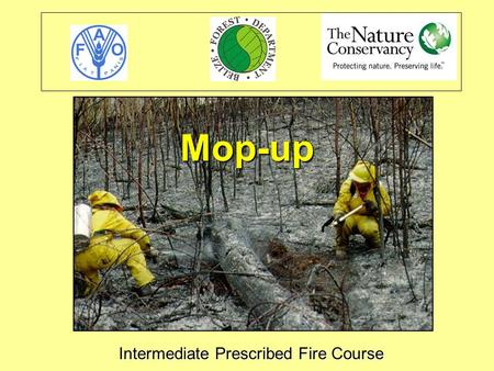 Intermediate Prescribed Fire Course Mop-up. Objetives Define mop-up as part of the prescribed burn process. Identify the two principal approaches to mop-up.