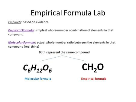 Empirical Formula Lab Empirical: based on evidence Empirical Formula: simplest whole-number combination of elements in that compound Molecular Formula: