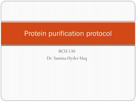 BCH 530 Dr. Samina Hyder Haq Protein purification protocol.