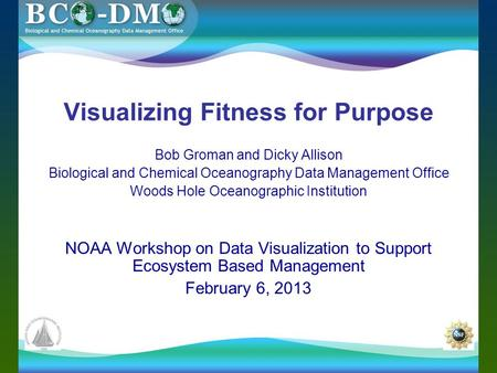 Visualizing Fitness for Purpose Bob Groman and Dicky Allison Biological and Chemical Oceanography Data Management Office Woods Hole Oceanographic Institution.