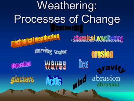 Weathering: Processes of Change. EQ: How does weathering occur?