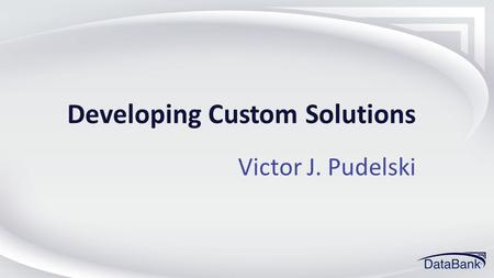 Developing Custom Solutions Victor J. Pudelski. What is a Custom Solution???