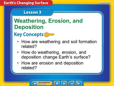 Lesson 3 Reading Guide - KC How are weathering and soil formation related? How do weathering, erosion, and deposition change Earth's surface? How are.