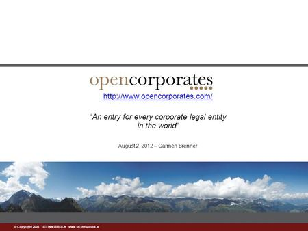 "© Copyright 2008 STI INNSBRUCK   ""An entry for every corporate legal entity in the."