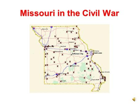 Missouri in the Civil War The Civil War On April 12, 1861, the first shots of the Civil War were fired at Fort Sumter in South Carolina. A civil war.