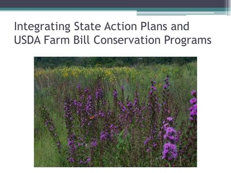 Integrating State Action Plans and USDA Farm Bill Conservation Programs.