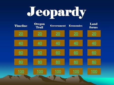 20 40 60 80 100 20 40 60 80 100 20 40 60 80 100 20 40 60 80 100 20 40 60 80 100 Jeopardy Timeline Oregon Trail GovernmentEconomics Land forms.
