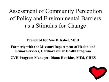 Assessment of Community Perception of Policy and Environmental Barriers as a Stimulus for Change Presented by: Sue D'Isabel, MPH Formerly with the Missouri.