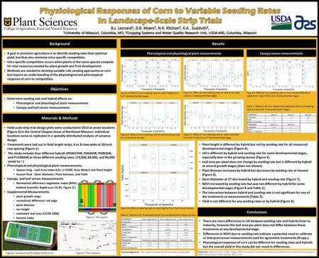 Determine seeding rate and hybrid effects on: Phenotypical and physiological plant measurements Canopy and leaf sensor measurements A goal in precision.