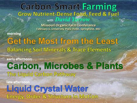 With David Yarrow Missouri Organic Farm Conference February 6, University Plaza Hotel, Springfield, MO.