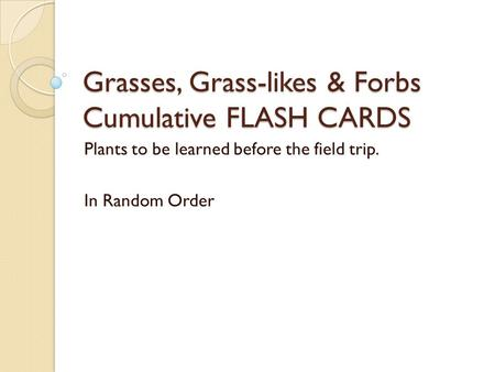 Grasses, Grass-likes & Forbs Cumulative FLASH CARDS Plants to be learned before the field trip. In Random Order.