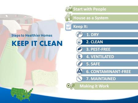 1 KEEP IT CLEAN Steps to Healthier Homes. 2 L EARNING O BJECTIVES List three contaminants or allergens that are frequently found in house dust and their.