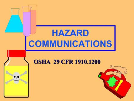 HAZARD COMMUNICATIONS OSHA 29 CFR 1910.1200 Requirements of the Standard MSDSLabeling WrittenProgram InventoryTraining.