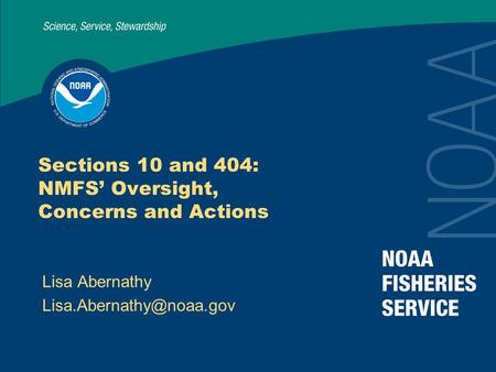 Sections 10 and 404: NMFS' Oversight, Concerns and Actions