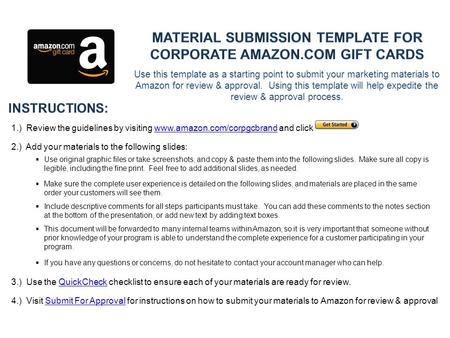 Use this template as a starting point to submit your marketing materials to Amazon for review & approval. Using this template will help expedite the review.