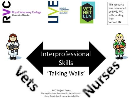 'Talking Walls' Interprofessional Skills This resource was developed by LIVE, RVC with funding from VetNetLLN RVC Project Team: Tierney Kinnison, Perdi.