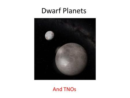 Dwarf Planets And TNOs. The Problem of Pluto Pluto was discovered in 1930. Named after the god of the dead. Its position was predicted by perturbations.