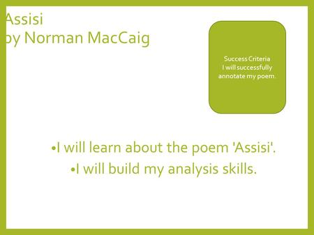 assisi norman maccaig critical essay