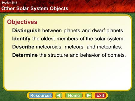 Objectives Distinguish between planets and dwarf planets.
