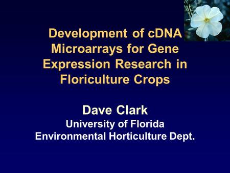 Development of cDNA Microarrays for Gene Expression Research in Floriculture Crops Dave Clark University of Florida Environmental Horticulture Dept.