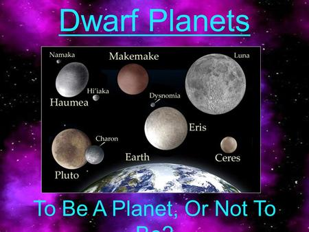Dwarf Planets To Be A Planet, Or Not To Be?. Physical Characteristics 5 - Recognized Dwarf Planets –Ceres, Pluto, Haumea, Makemake, Eris Classification.