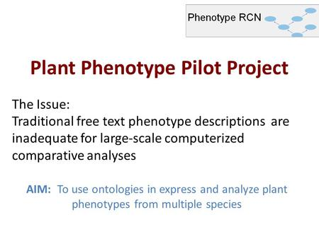 Plant Phenotype Pilot Project AIM: To use ontologies in express and analyze plant phenotypes from multiple species The Issue: Traditional free text phenotype.