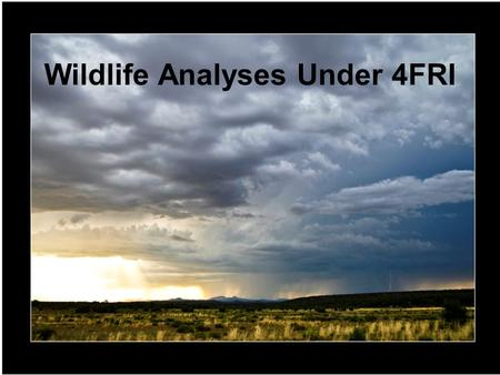 "Wildlife Analyses Under 4FRI. ""Wildlife"" as defined by Federal Laws, Regulations, & Policy: Endangered Species Regional Forester's Sensitive Species Regional."
