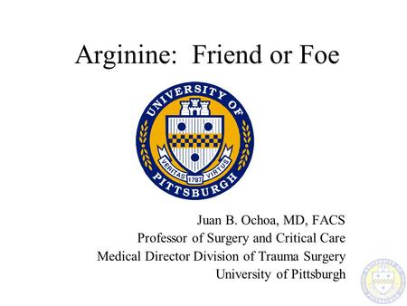 Arginine: Friend or Foe Juan B. Ochoa, MD, FACS Professor of Surgery and Critical Care Medical Director Division of Trauma Surgery University of Pittsburgh.
