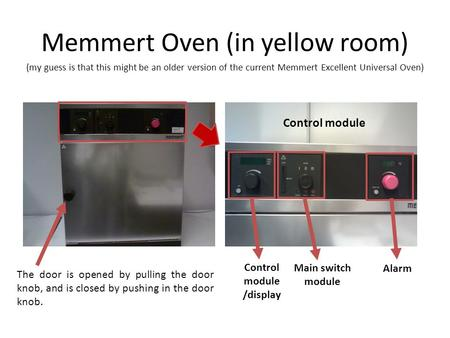 Memmert Oven (in yellow room) The door is opened by pulling the door knob, and is closed by pushing in the door knob. Control module /display Control module.
