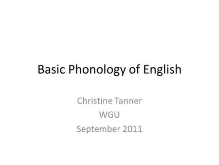 Basic Phonology of English