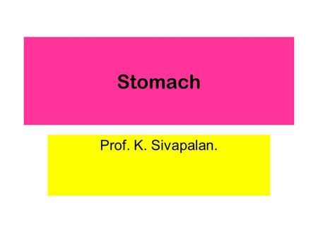 Stomach Prof. K. Sivapalan.. 2013Stomach2 Stomach.