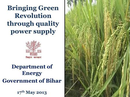 Bringing Green Revolution through quality power supply Department of Energy Government of Bihar 17 th May 2013.
