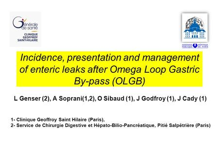 Incidence, presentation and management of enteric leaks after Omega Loop Gastric By-pass (OLGB) L Genser (2), A Soprani(1,2), O Sibaud (1), J Godfroy (1),