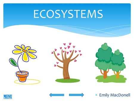 ECOSYSTEMS  Emily MacDonell MENU ECOSYSTEMS Grade Level: 4 th Grade Science Content Area: Science with integrated reading Academic Content Standard: