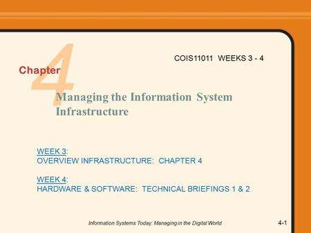 Information Systems Today: Managing in the Digital World 4-1 4 Chapter Managing the Information System Infrastructure COIS11011 WEEKS 3 - 4 WEEK 3: OVERVIEW.