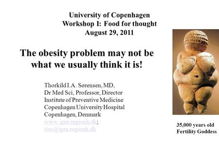 The obesity problem may not be what we usually think it is! University of Copenhagen Workshop I: Food for thought August 29, 2011 Thorkild I.A. Sørensen,