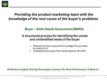 Buyer – Seller Needs Assessment (BSNA) A structured process for identifying the unmet and unidentified needs of the buyer  Reduces the time to acquire.
